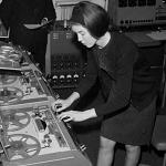 Delia Derbyshire working with tape machines