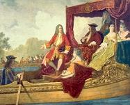 George Frideric Handel on the Royal barge with King George I - 19th century painting by E.J.C. Hamman commemorating the Water Music