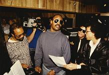 Quincy Jones, Stevie Wonder, Michael Jackson and Lionel Ritchie during session for We Are The World