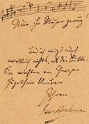 A musical quote signed by Johannes Brahms
