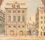 The original Gewandhaus building, in a watercolor painted by Mendelssohn and inscribed to Henriette Grabau