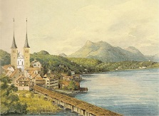 Watercolor of Lucerne, Switzerland by Mendelssohn