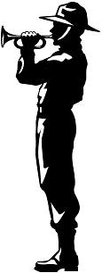 drawing of a bugler silhouette