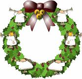 Christmas wreath with angels blowing trumpets