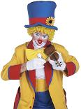 clown with small fiddle