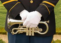 uniformed cornet player