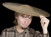 man wearing a cymbal for a hat
