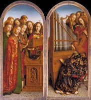 Jan van Eyck: Angels Making Music - 2 panels of Ghent Altarpiece