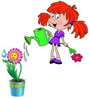 Mary watering a flower