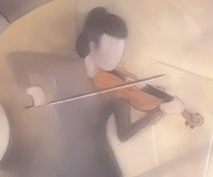 Violinist 1 - close-up of artwork by Martin Paterson