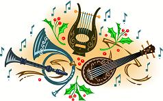Musical instruments and Christmas holly