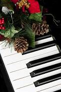 Piano keyboard with Christmas decoration