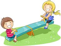 Children playing on a Seesaw