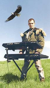 Mark J Cairns - photo with keyboards and eagle