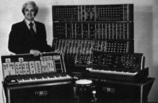 Robert (Bob) Moog with some of his early synthesiser instruments