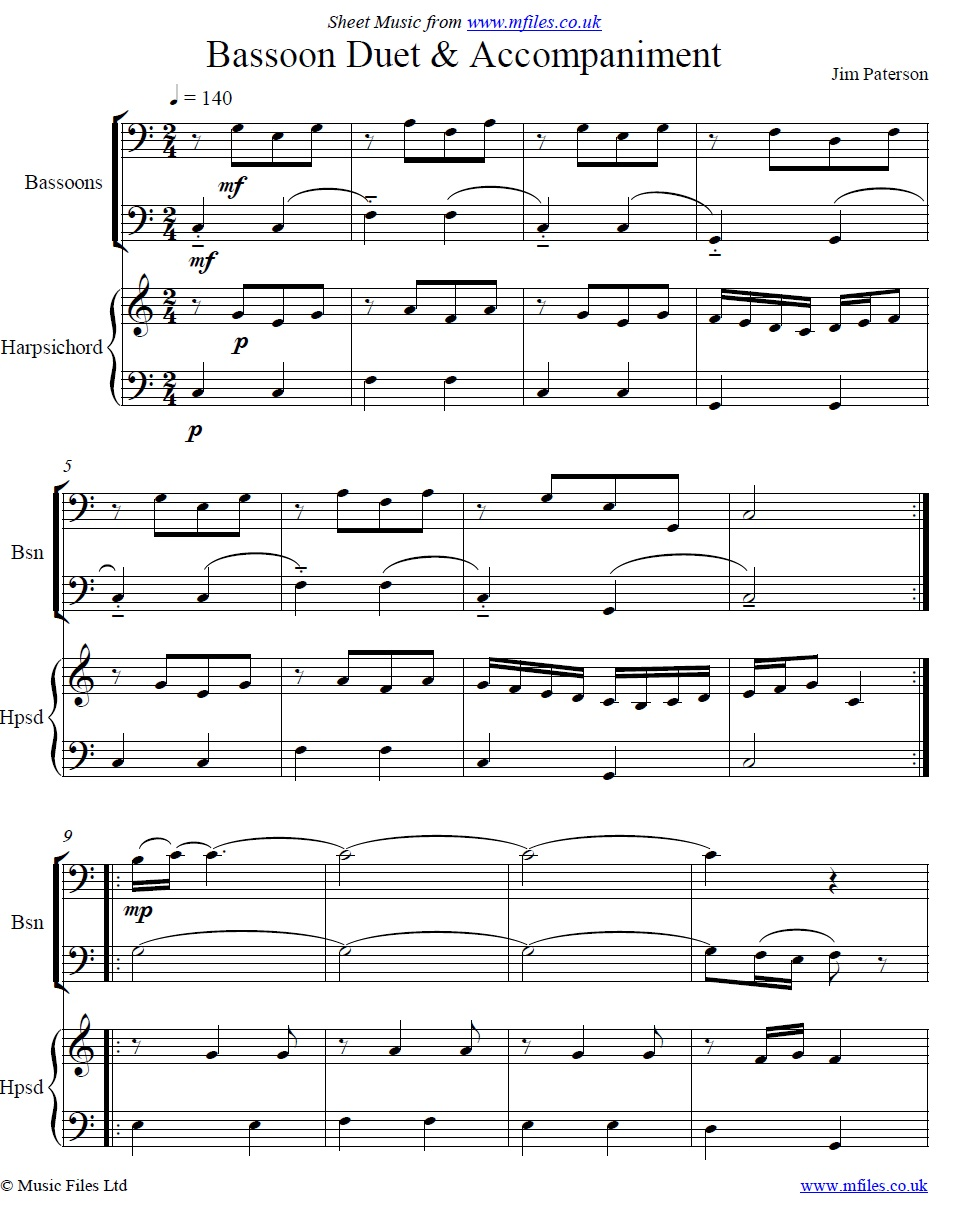 Bassoons and Harpsichord by Jim Paterson - sheet music 1st page