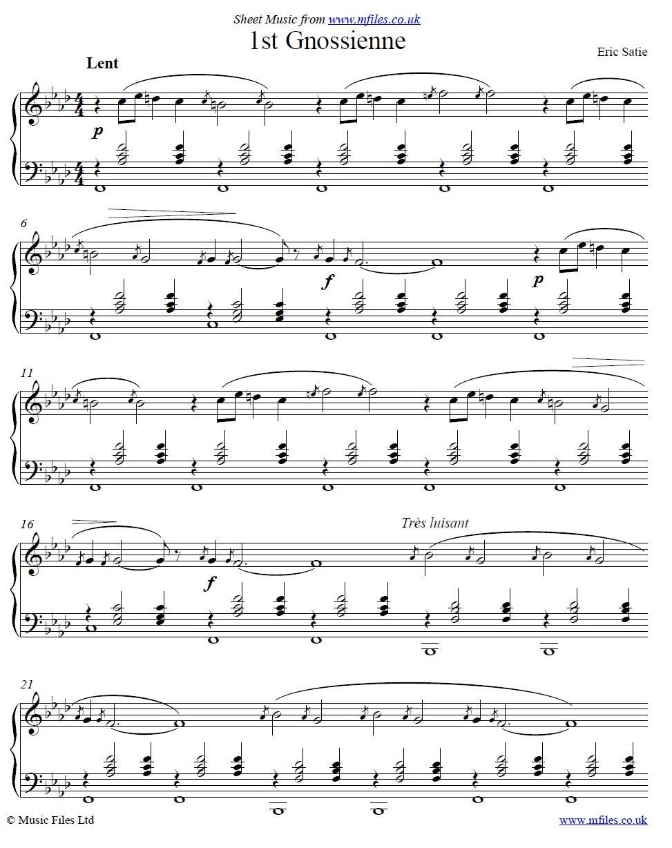 Satie's Gnossienne No.1 for piano - sheet music 1st page