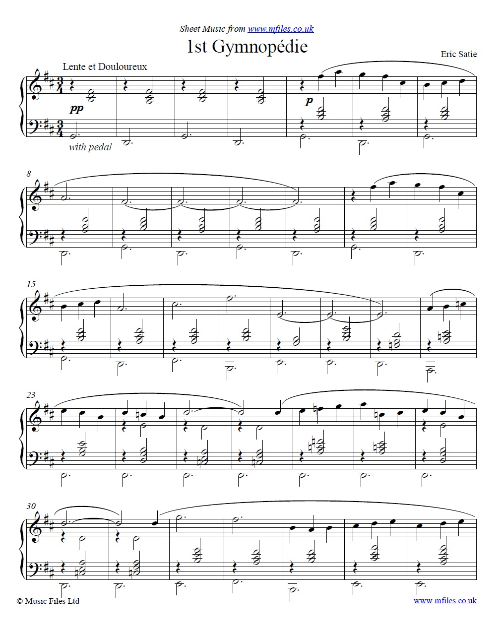 Satie's Gymnopedie No.1 for piano - sheet music 1st page