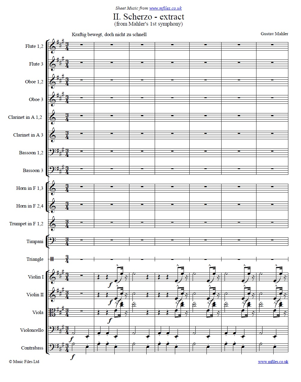 Mahler's 1st Symphony (2nd movement) score extract - sheet music 1st page