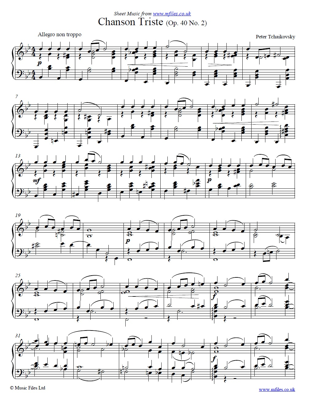 Tchaikovsky's Chanson Triste Op.40 No.2 for piano - sheet music 1st page
