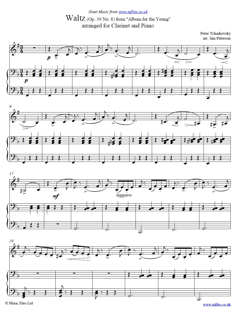 Waltz from Album for the Young (Op.39 No.8) for clarinet in B-flat and piano - sheet music 1st page