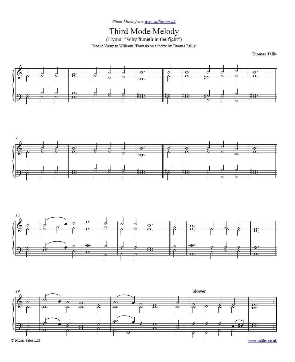 Thomas Tallis Third Mode Melody For Piano Or Organ Sheet Music