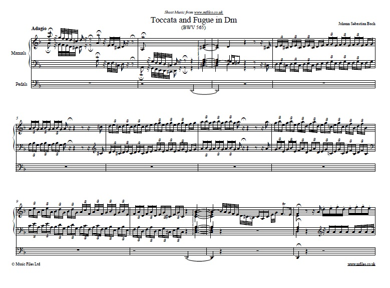 Bach's Toccata and Fugue in D minor for organ - sheet music 1st page