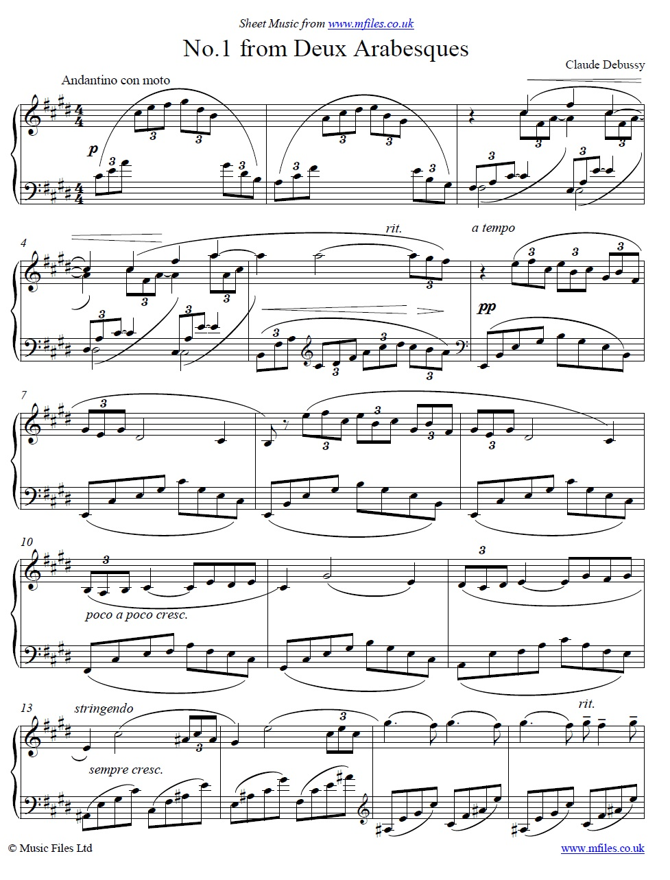 Debussy's Arabesque no.1 - piano sheet music 1st page