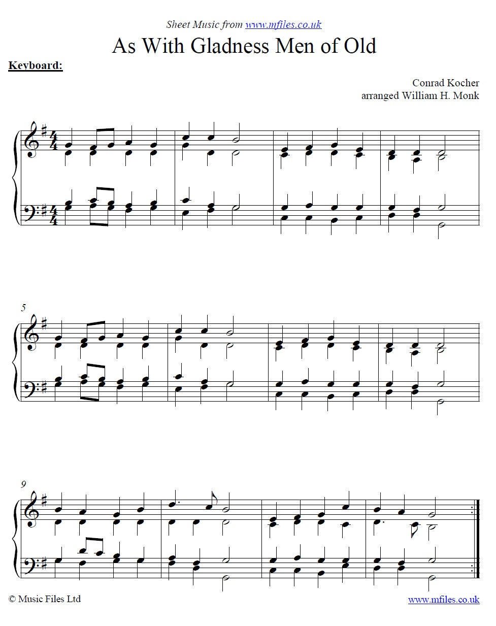 As With Gladness Men of Old - a Traditional Christmas Carol