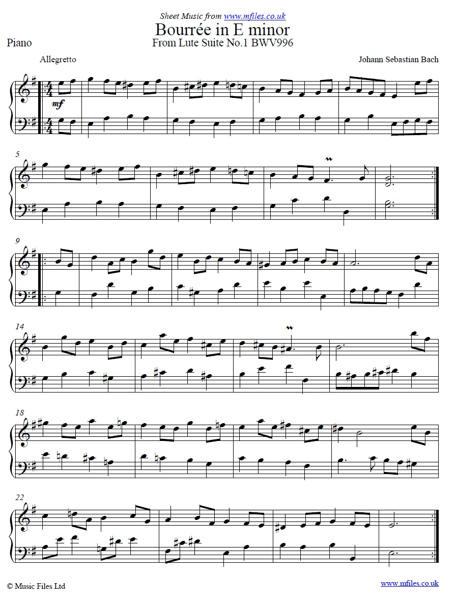 Bach's Bourrée in Em for piano - sheet music 1st page