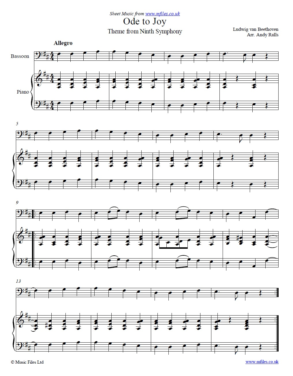 Ludwig van Beethoven: Ode of Joy theme (from 4th movement of