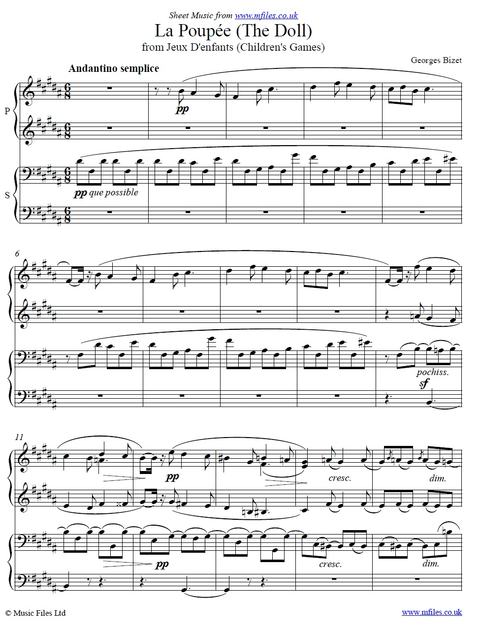 Bizet's La Poupée (The Doll) from Jeux d'Enfants (Piano Duet) - sheet music 1st page