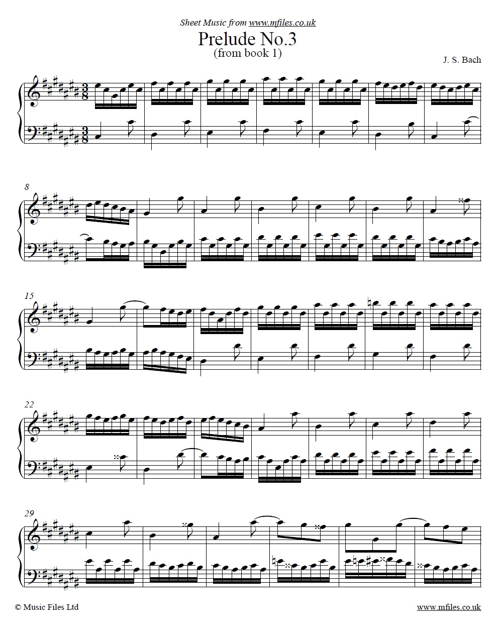 Bach's Prelude No.3 from book 1 of the WTC - sheet music 1st page