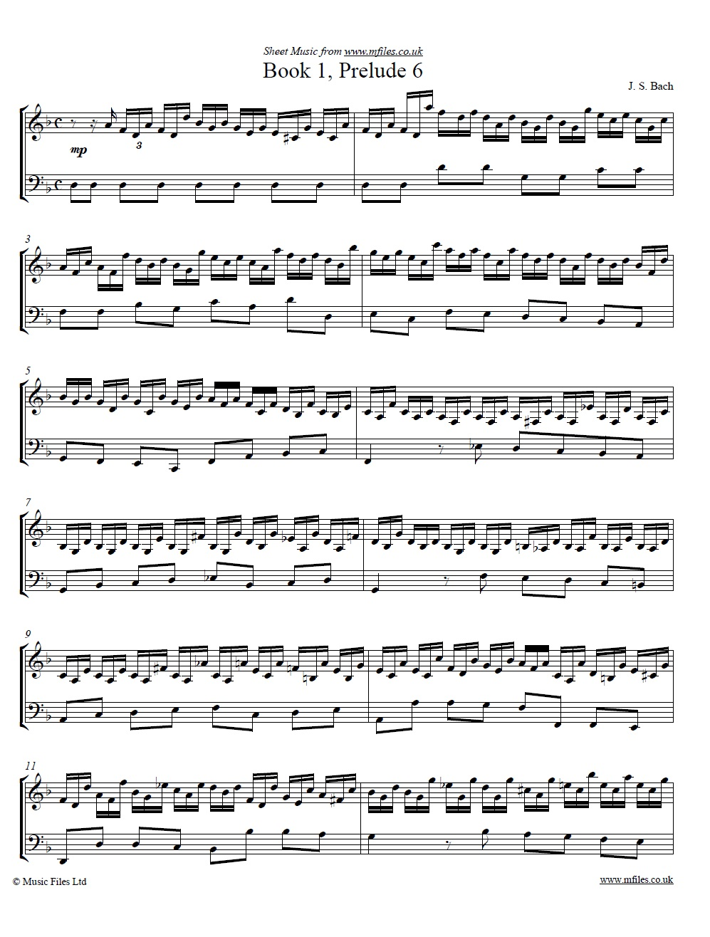 Bach's Prelude No.6 from book 1 of the WTC - sheet music 1st page