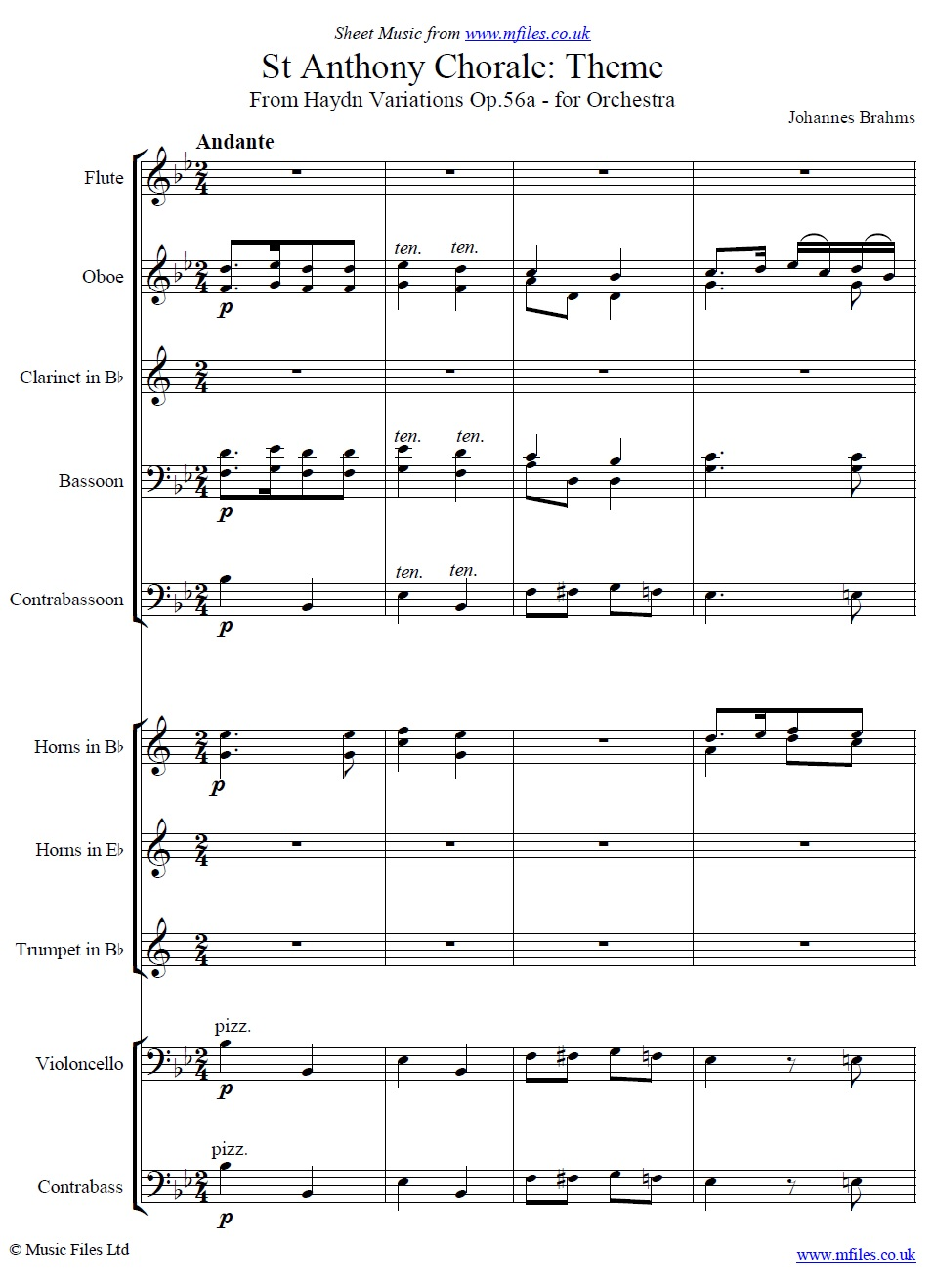 Brahms' St. Anthony Chorale Variations (Theme) for Orchestra - sheet music 1st page