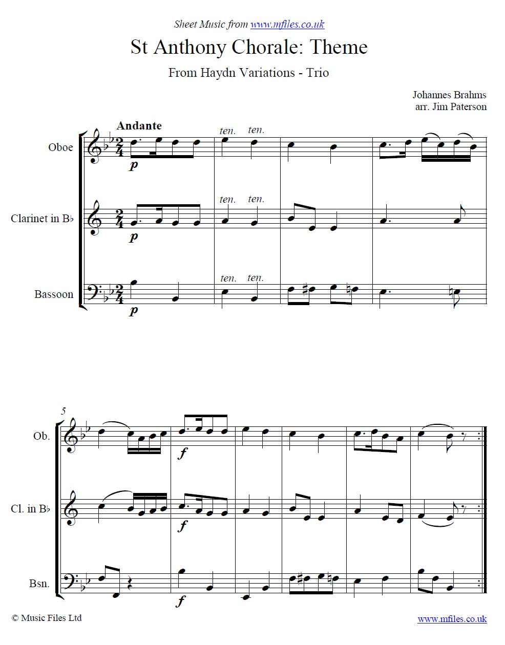 Brahms' St. Anthony Chorale Variations (Theme) arranged for Trio - sheet music 1st page