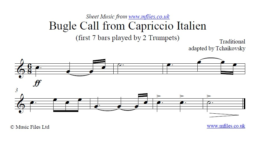 Bugle Call from Tchaikovsky's Capriccio Italien - sheet music 1st page