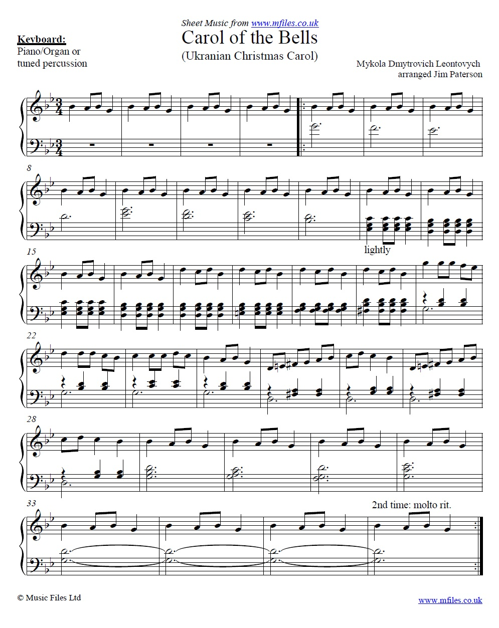 Carol of the Bells for piano - sheet music 1st page