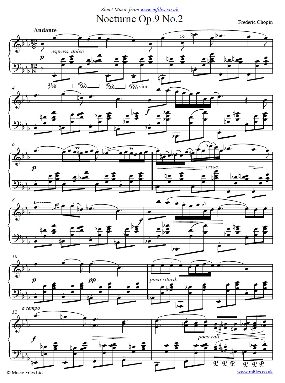 Chopin's Nocturne no.2 for piano - sheet music 1st page