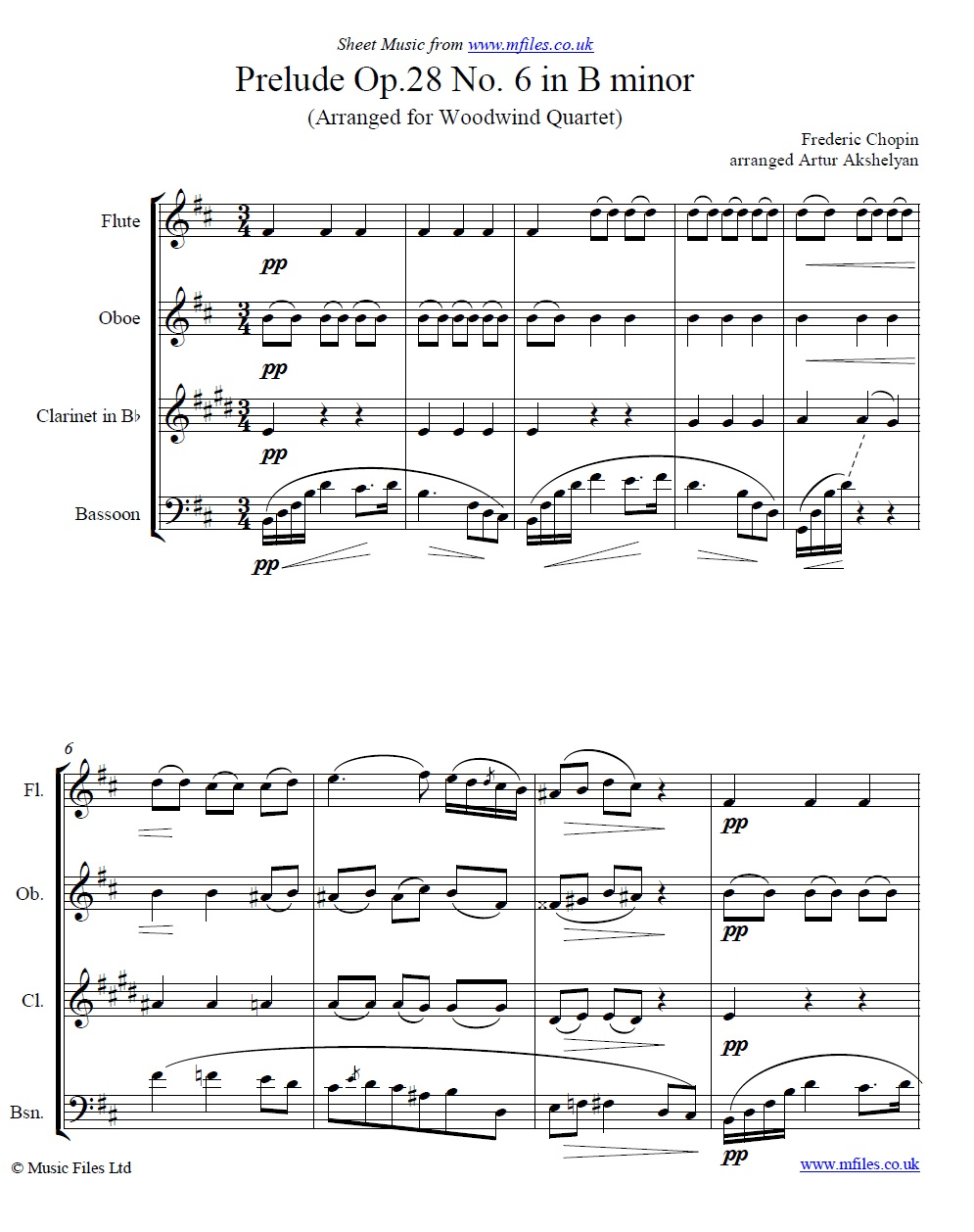 Chopin's Prelude no.6 for woodwind quartet - sheet music 1st page