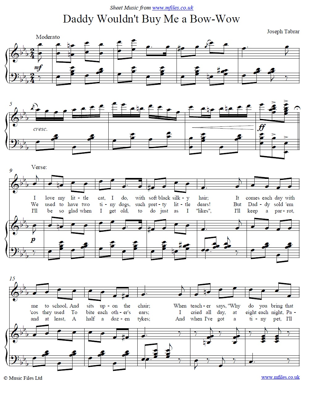 Daddy Wouldn't Buy Me a Bow-wow : a music hall song - piano/vocal