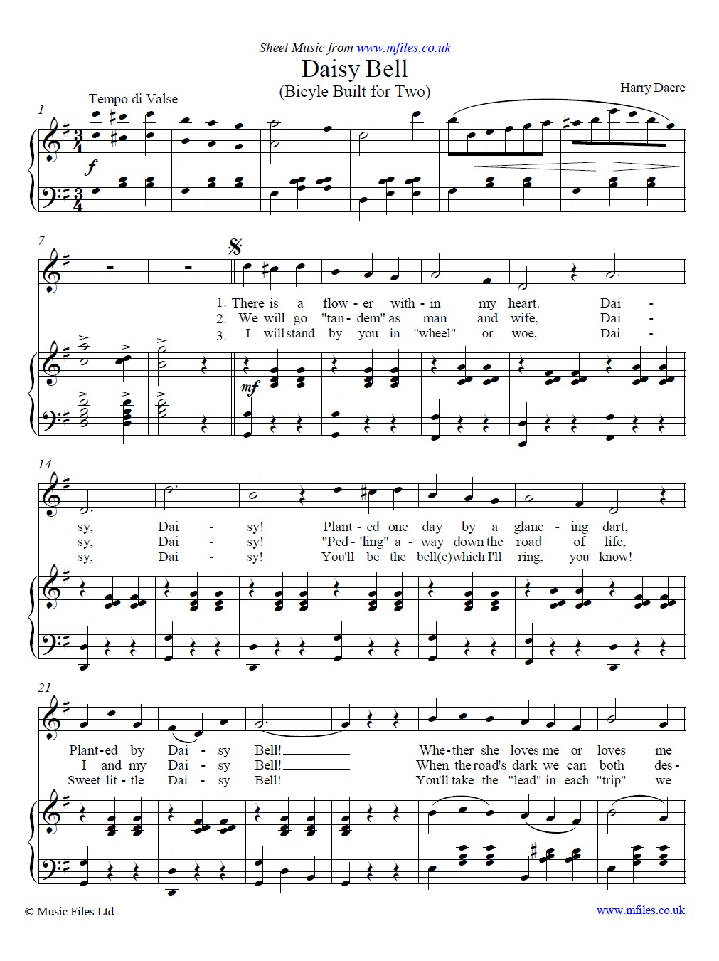 Daisy Bell (piano/vocal) - sheet music 1st page