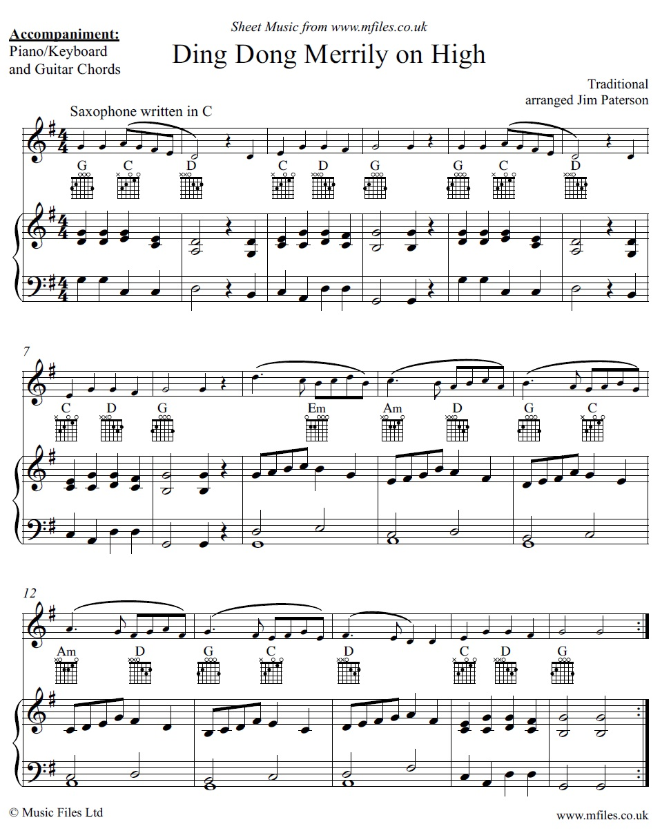 Ding Dong Merrily on High for alto sax and piano - click to download sheet music