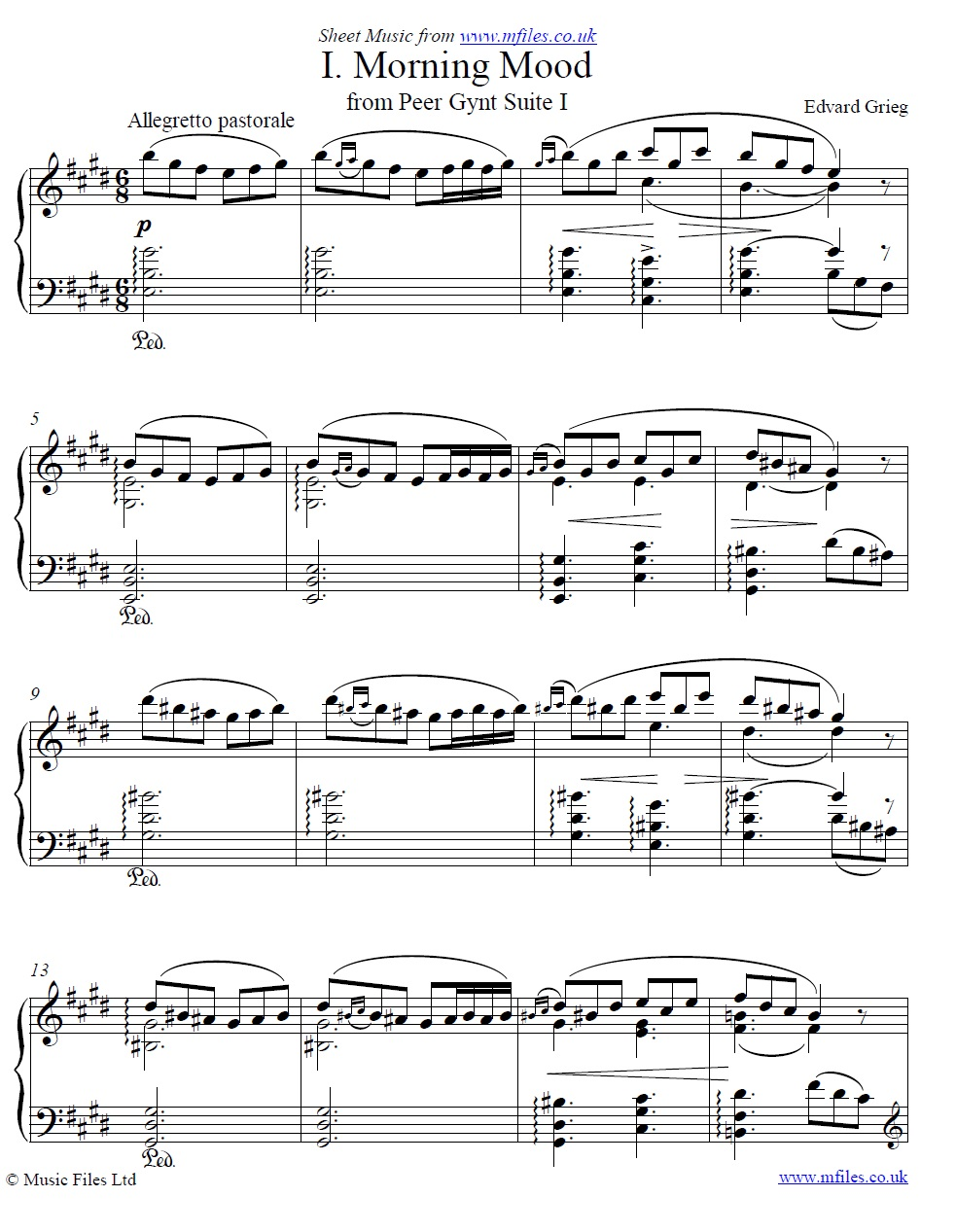 Grieg's Morning Mood from Peer Gynt for piano - sheet music 1st page