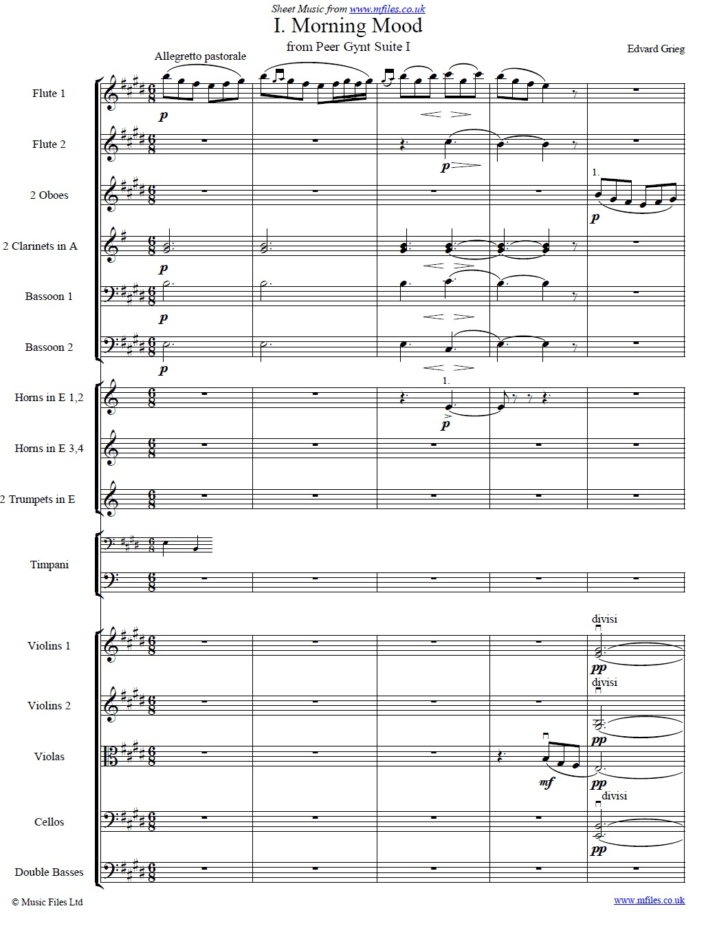 Grieg's Morning Mood from Peer Gynt (orchestral score) - sheet music 1st page