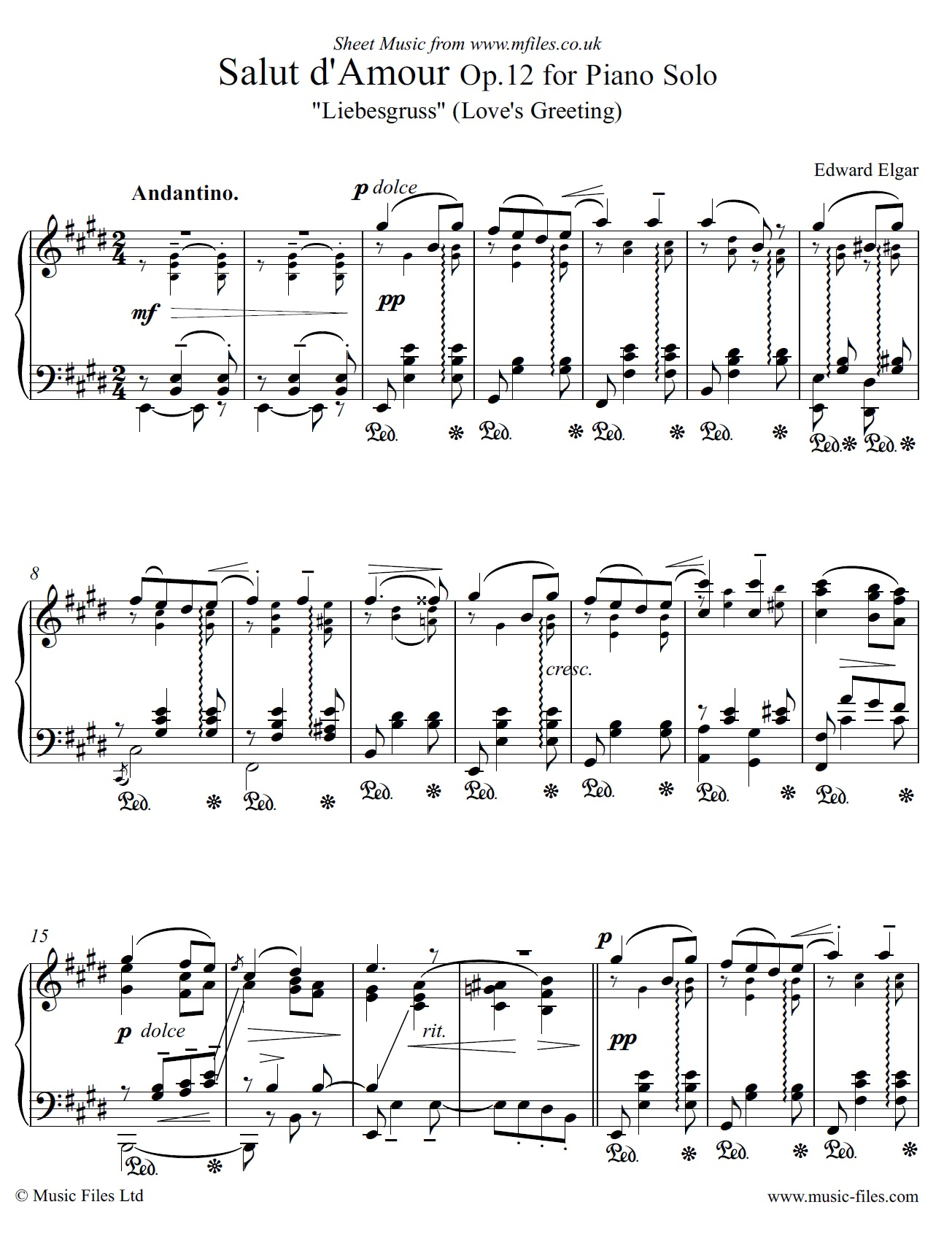 Elgar's Salut d'Amour Op.12 for piano solo - sheet music 1st page