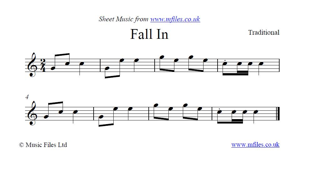 Fall In (bugle call) - sheet music 1st page