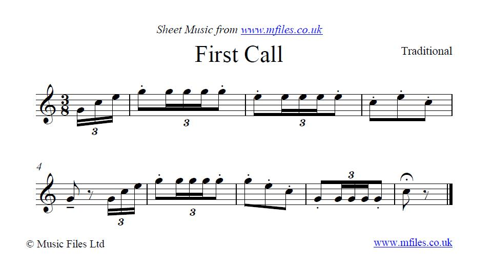 First Call (bugle call) - sheet music 1st page
