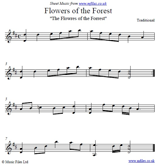 Flowers of the Forest original version for piano - sheet music 1st page