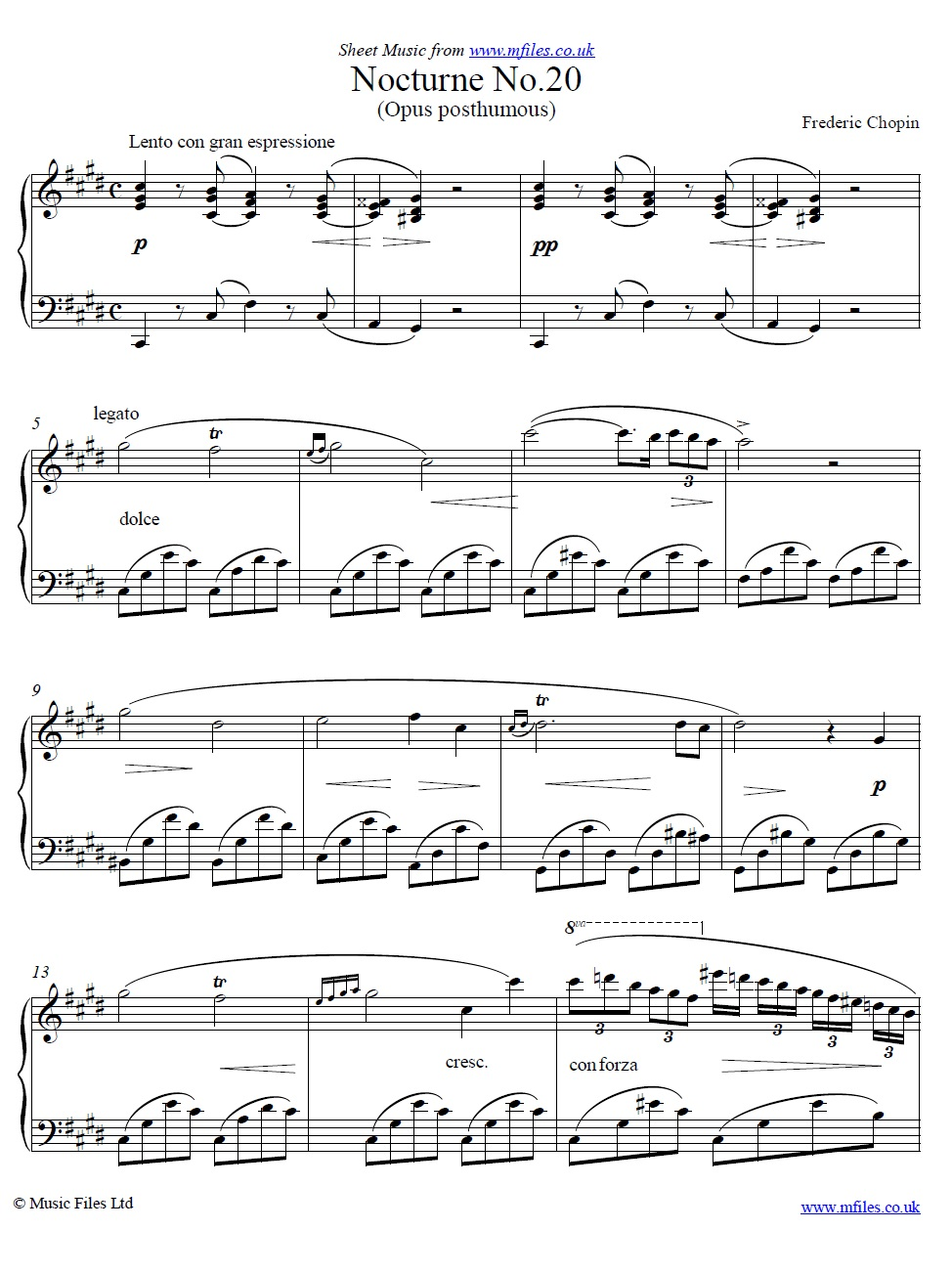 Frederic Chopin : Nocturne No 20 in C# minor (Opus